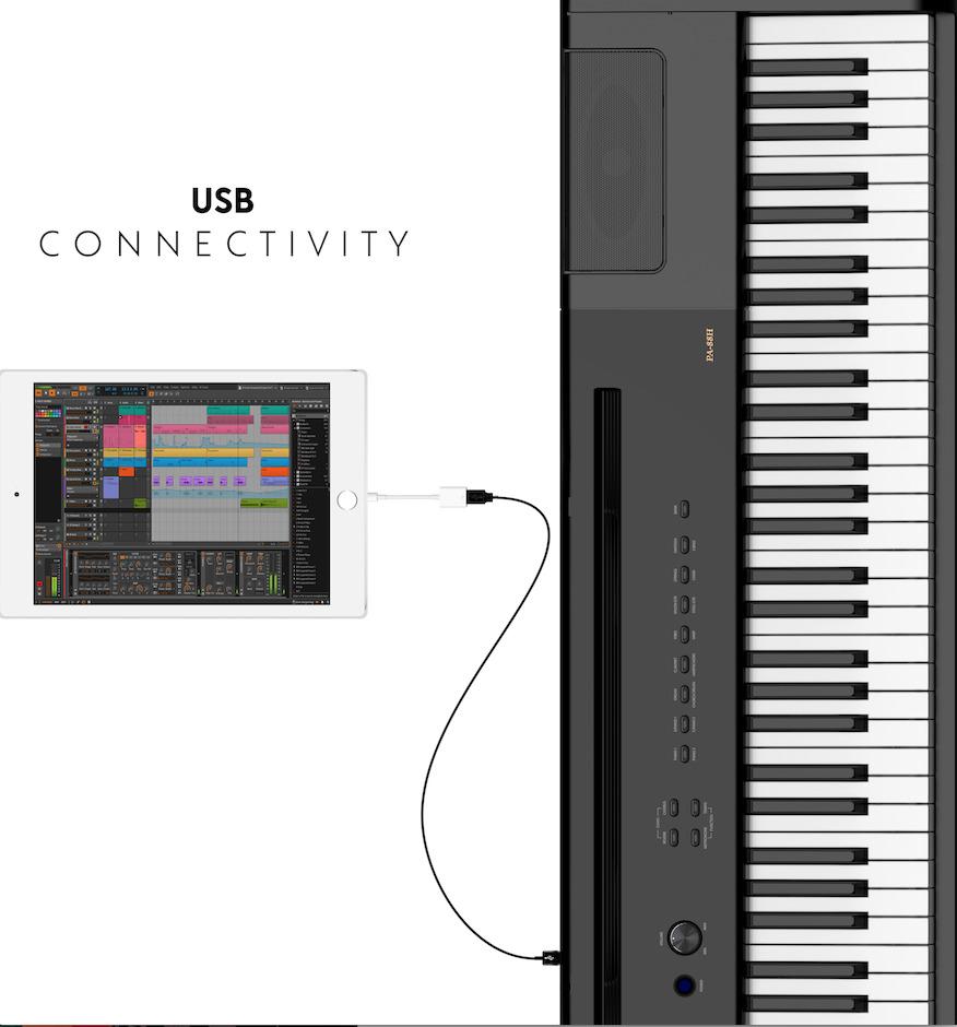 Artesia PA 88H+ Piano med ST2BK Stativ Svart Voss Musikk